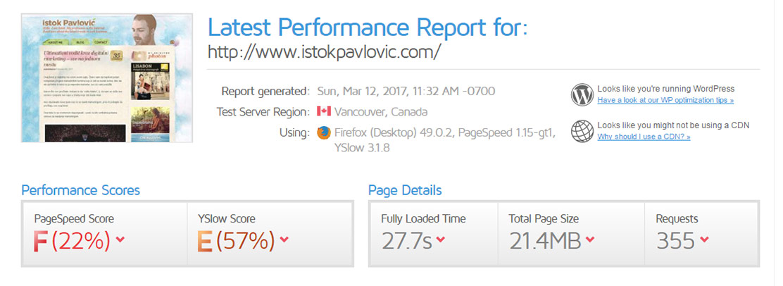 Analiza brzine učitavanja bloga Istok Pavlović